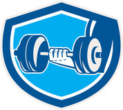 Hand Lifting Dumbbell Shield Retro Stock Images