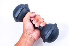 Hand lifting dumbell. Isolated on white backgeound Stock Photos