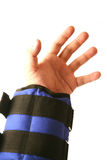 Hand lifting weight bags Royalty Free Stock Images