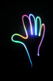 Hand light. Painting with black background stock illustration