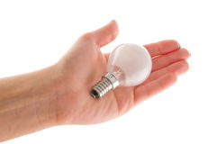 Hand with light bulb. Or globe; isolated on white background Royalty Free Stock Photography