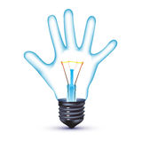 Hand light bulb Royalty Free Stock Photos