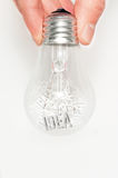 Hand with light bulb full of ideas Royalty Free Stock Photos