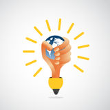Hand lightbulb holding earth Stock Photography