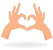 Hand like heart on white background. Stock Image