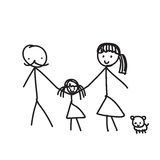 Hand line drawing of a family parents father mother children pet Stock Image