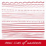 Hand lines - real markers. Different lines - straight, wavy, interrupt, dotted, thick, thin... Red. Vector set.  on white background. Eps 10 Royalty Free Stock Image