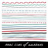 Hand lines - real markers Royalty Free Stock Photography