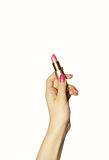 Hand With Lipstick Royalty Free Stock Image