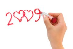 Hand with lipstick drawing hearts Royalty Free Stock Image
