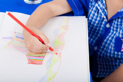Hand of little child drawing Royalty Free Stock Image