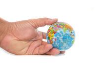 Hand with little world. On white background Royalty Free Stock Images