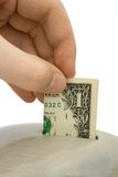 Hand load money to bank Stock Images