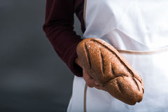 Hand with loaf of bread Stock Image