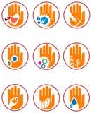 Hand logo set. Line art hand logo set with white background isolated Stock Photo