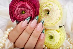 Hand with long artificial french manicured nails decorated with glitter Stock Images