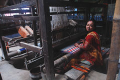 Hand loom industry in India Stock Photo