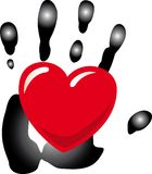 Hand of Love. An illustration of a red heart on a black hand, isolated on a white background Royalty Free Stock Photography