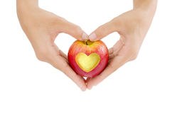 Hand and love apple Stock Photography