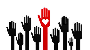Hand with love among black hands Royalty Free Stock Photos