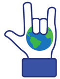 Hand love earth symbol (vector) Royalty Free Stock Photos