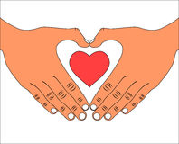 Hand with love heart icon Royalty Free Stock Photos