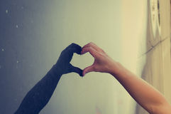Hand Love Heart With Its Shadow Royalty Free Stock Photos