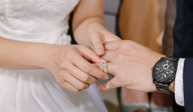 Hand of lover are wearing a ring Royalty Free Stock Image