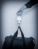 Hand luggage measurement. Stock Image