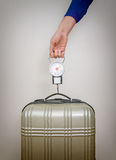 Hand luggage measurement. Royalty Free Stock Photo