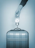 Hand luggage measurement. Royalty Free Stock Photos