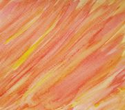 Hand målad apelsin och guling för abstrakt vattenfärgtextur röd Royaltyfri Bild