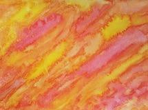 Hand målad apelsin och guling för abstrakt vattenfärgtextur röd Arkivbilder