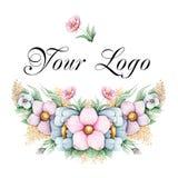 Hand målad blom- logo royaltyfri illustrationer