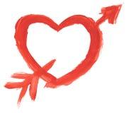 Hand målad hjärta med den isolerade pilen Royaltyfria Bilder