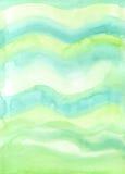 Hand-målad ny grön vattenfärgbakgrundstextur Arkivfoto