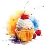 Hand målad vattenfärgkörsbärmuffin också vektor för coreldrawillustration Fotografering för Bildbyråer
