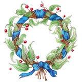 Hand målad vattenfärgkrans royaltyfri illustrationer
