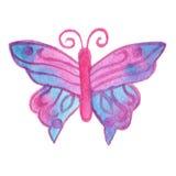 Hand målad verklig vattenfärgrosa färg- och blåttfjäril på en vit Royaltyfria Bilder