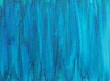 Hand målade abstrakta vågor för vattenfärgtexturblått Arkivfoton