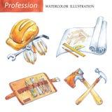 Hand målade fastställda carpenteryhjälpmedel Yrke hobby, hantverkillustration vektor illustrationer