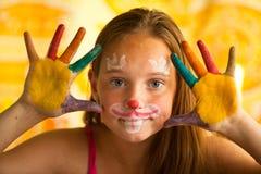 Hand målat barn Fotografering för Bildbyråer
