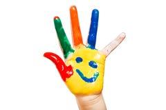 Hand målat barn. Vit bakgrund Royaltyfria Foton