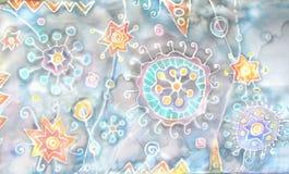 _ Hand-målning på silke Abstrakt begrepp blommar, stjärnor, fläckar, färgstänk Fantastisk värld Under mikroskopet kosmiska modell Arkivbild