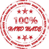 Hand made. Red stamp 100% hand made on the white background Vector Illustration