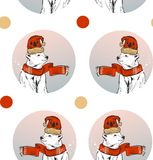 Hand made abstract textured Merry Christmas decoration seamless pattern with white polar bear in winter clothing and Stock Photos