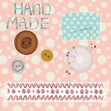 Hand made. Accessories on the retro pattern background Royalty Free Stock Photos