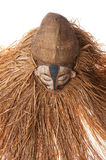 Hand made African mask with ropes simulating hair. Human face. I. Hand made African mask with ropes simulating hair. Human face.  on white background Stock Photo