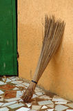 Hand made African straw broom Stock Photo
