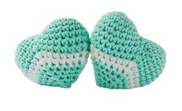 Hand made amigurumi crochet knit heart. Royalty Free Stock Photography